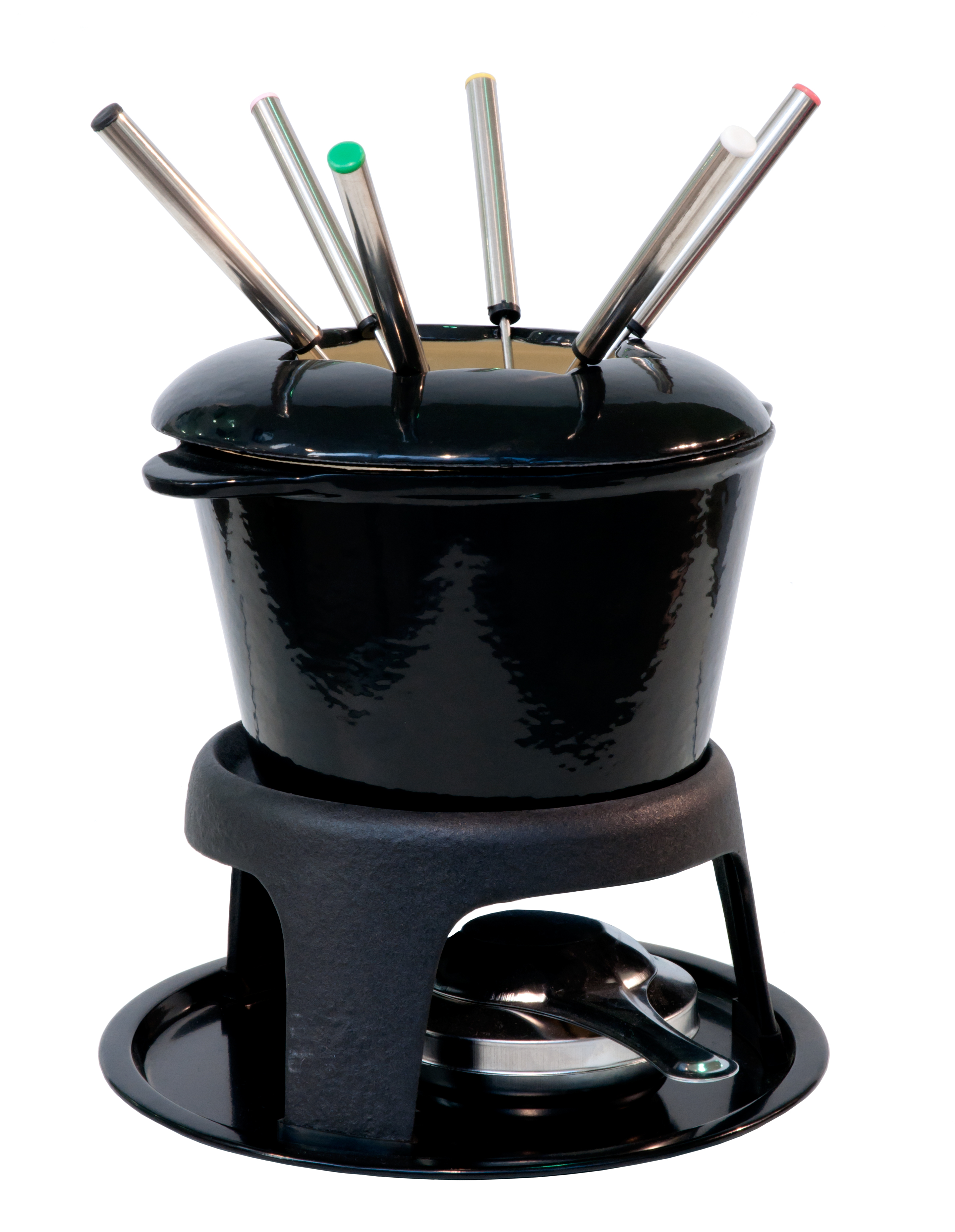 Black fondue bowl set. Isolated